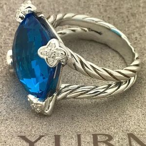 🌼DAVID YURMAN Silver Cushion On Point Blue Topaz
